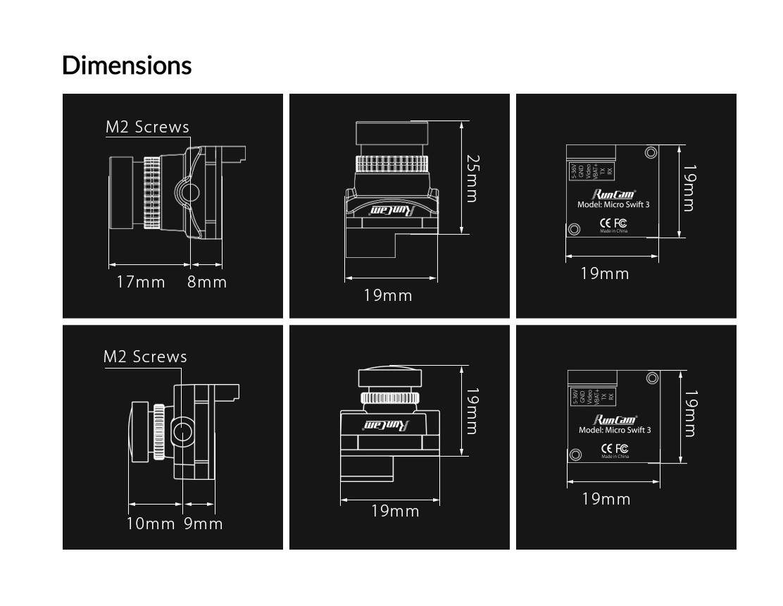 Runcam Micro Swift 3 13 SONY Super HAD II CCD 2.1mm NTSC 43 600TVL CCD