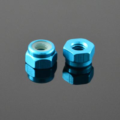 10Pcs M2 Self-locking Nylon Nut Aluminum Alloy Water Blue