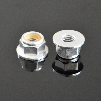 10Pcs M3 Flange Nylon Nut Self-locking Nut Colorful Aluminum Alloy Silver